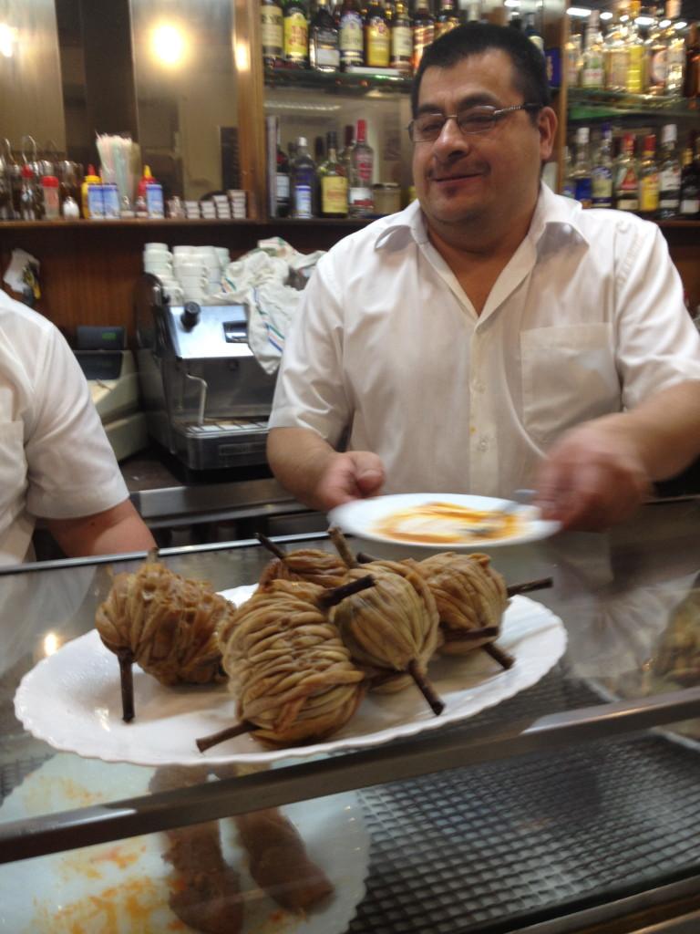 fried lamb intestines at Cerveceria la Cruz