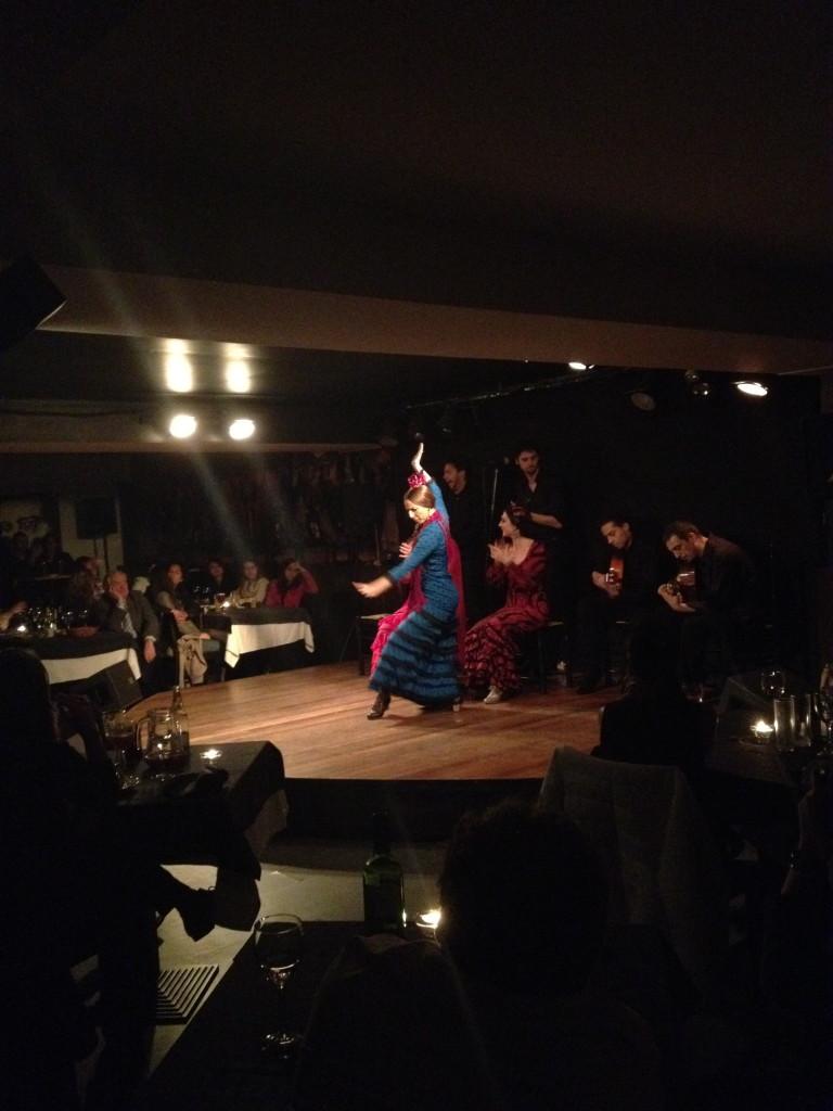 Flamenco dancer at Las Carboneras, Madrid strikes a pose