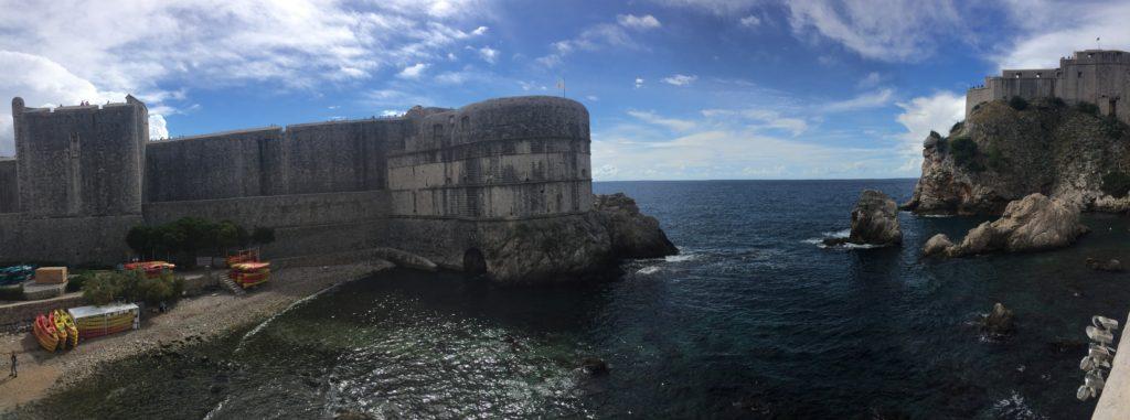 Panoramic photo of Pile Gate and the Fort Lovrijenac in Dubrovnik, Croatia