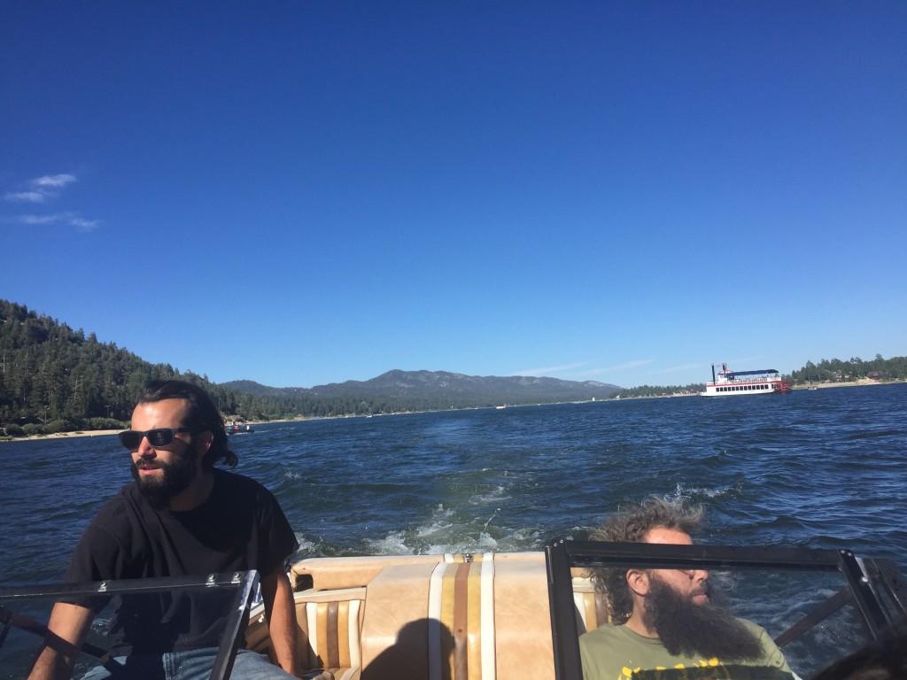 Riding on a boat on Big Bear Lake, California