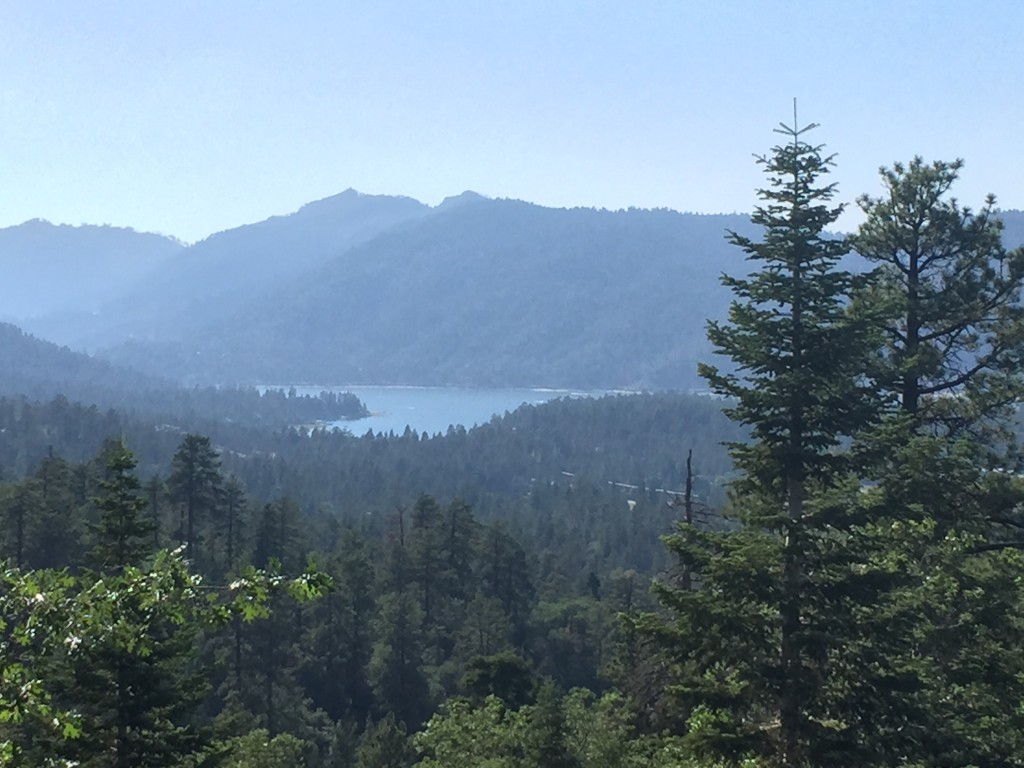 view of Big Bear Lake from the boulders we climbed on the Pine Knot Trail, Big Bear Lake, California