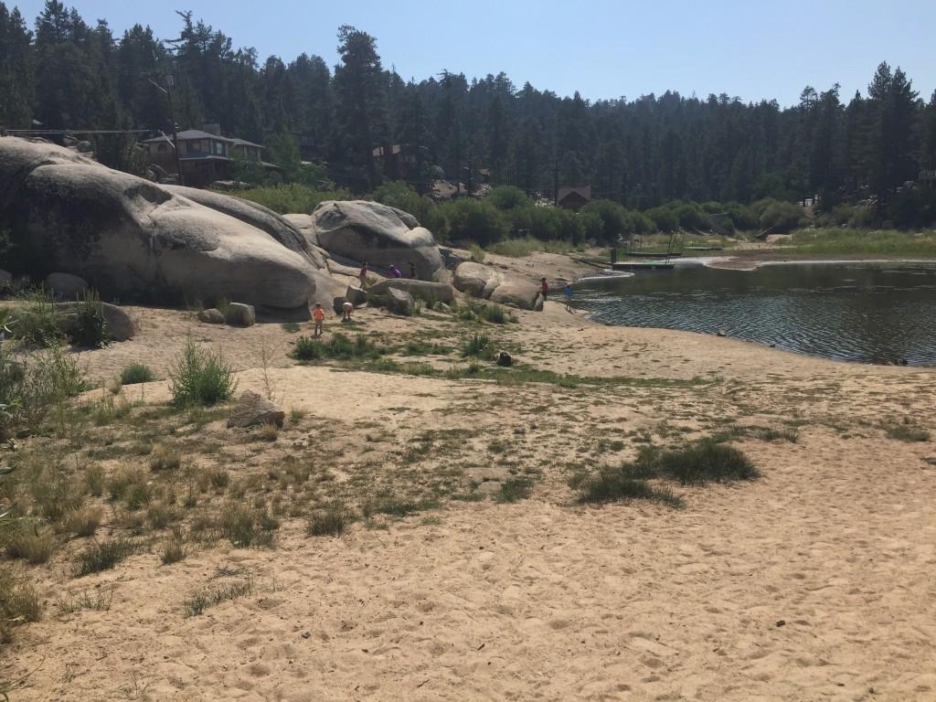 Sandy shore at Boulder Bay in Big Bear Lake, California