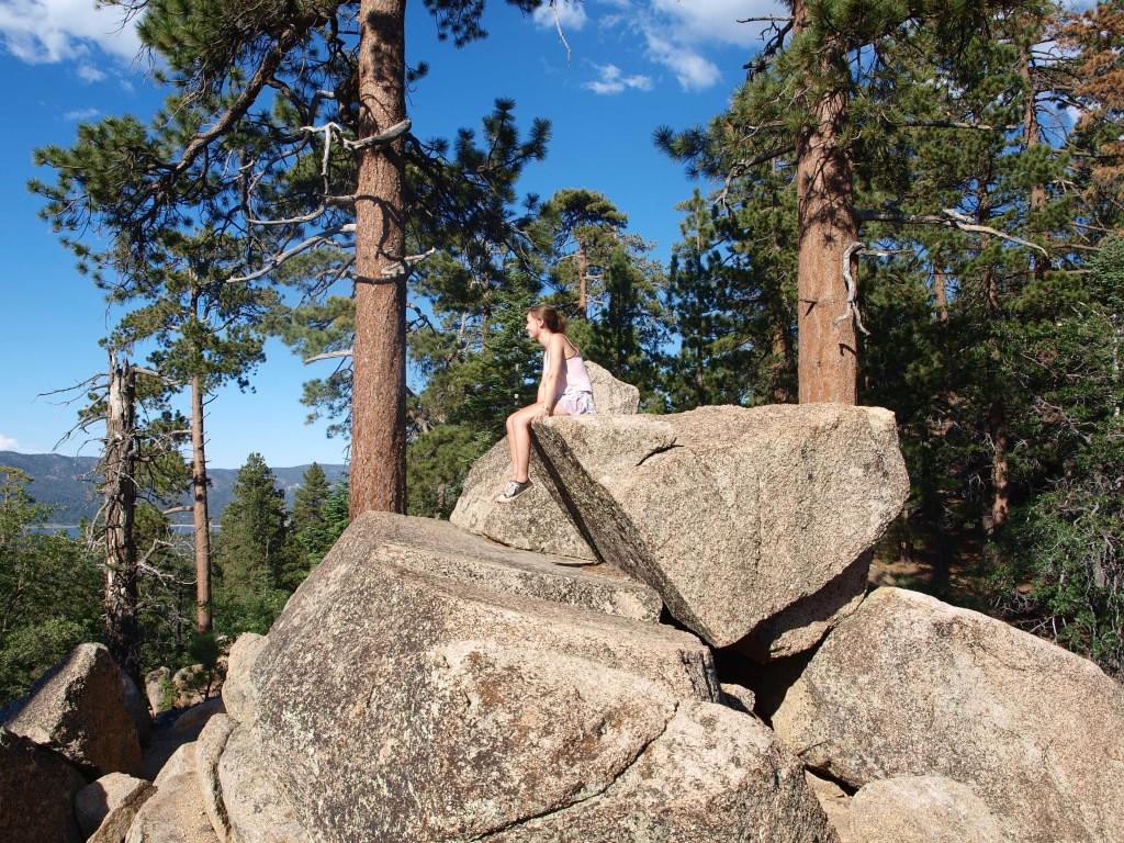 Climbing on boulders on Pine Knot Trail in Big Bear Lake, California