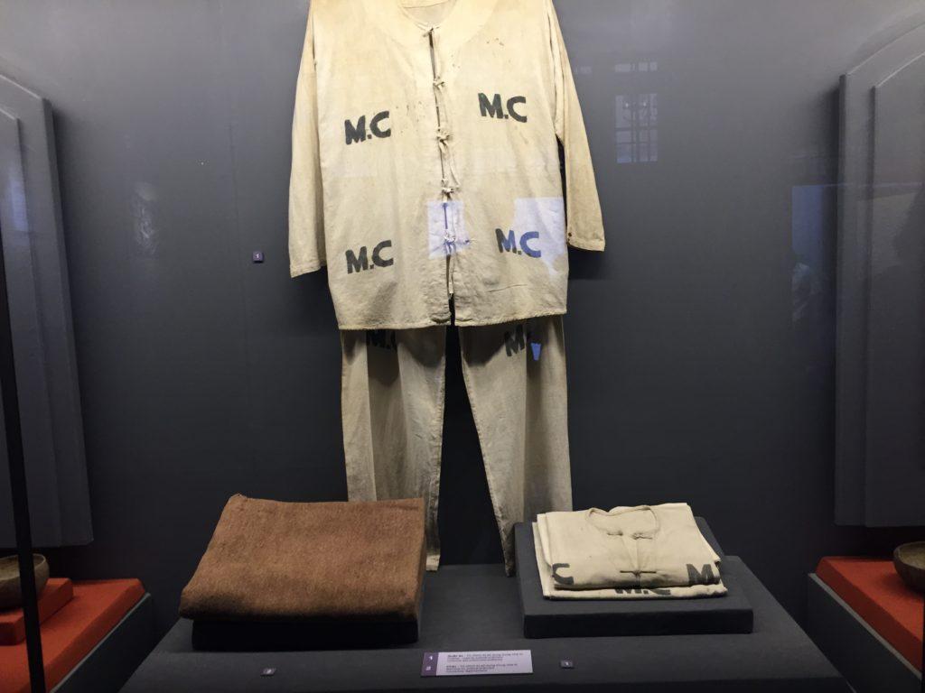 Prison uniforms for Vietnamese revolutionary prisoners, Hoa Lo Prison, Hanoi, Vietnam