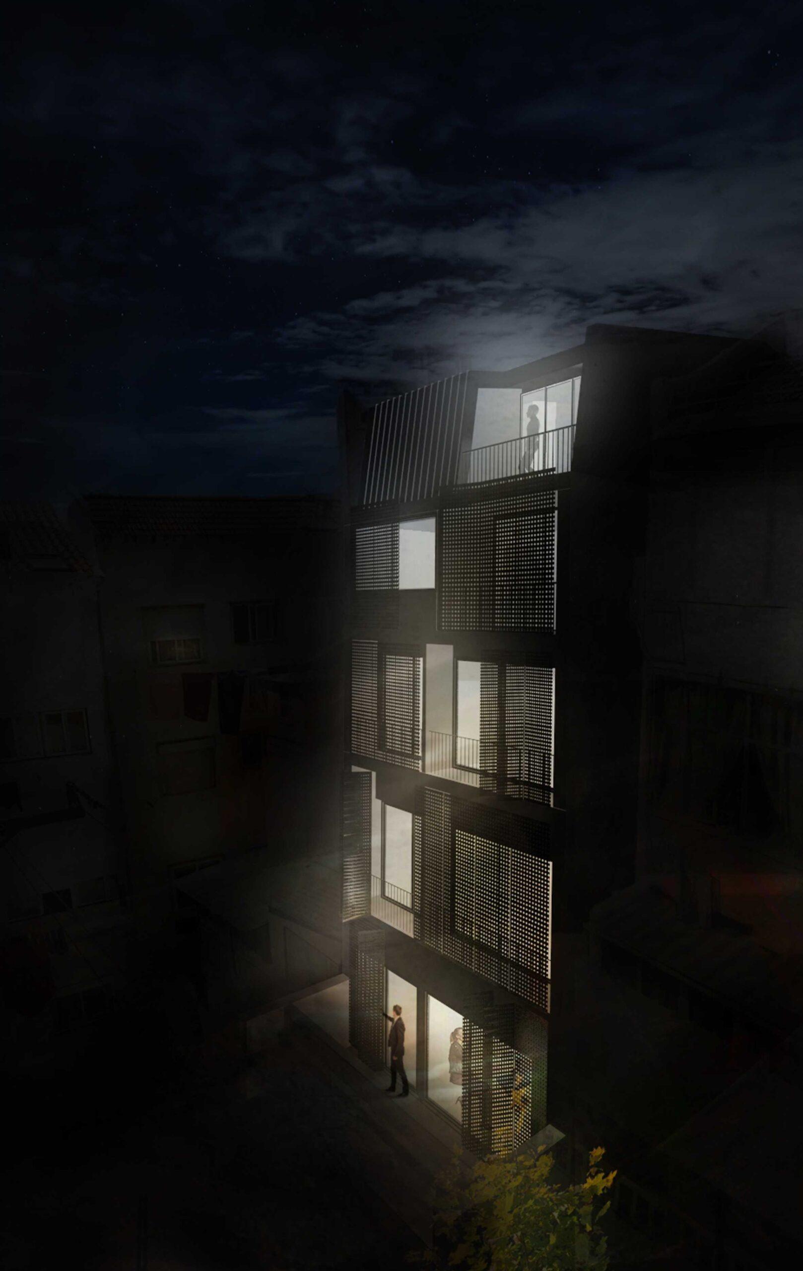 Simulação 3D da fachada Tardoz