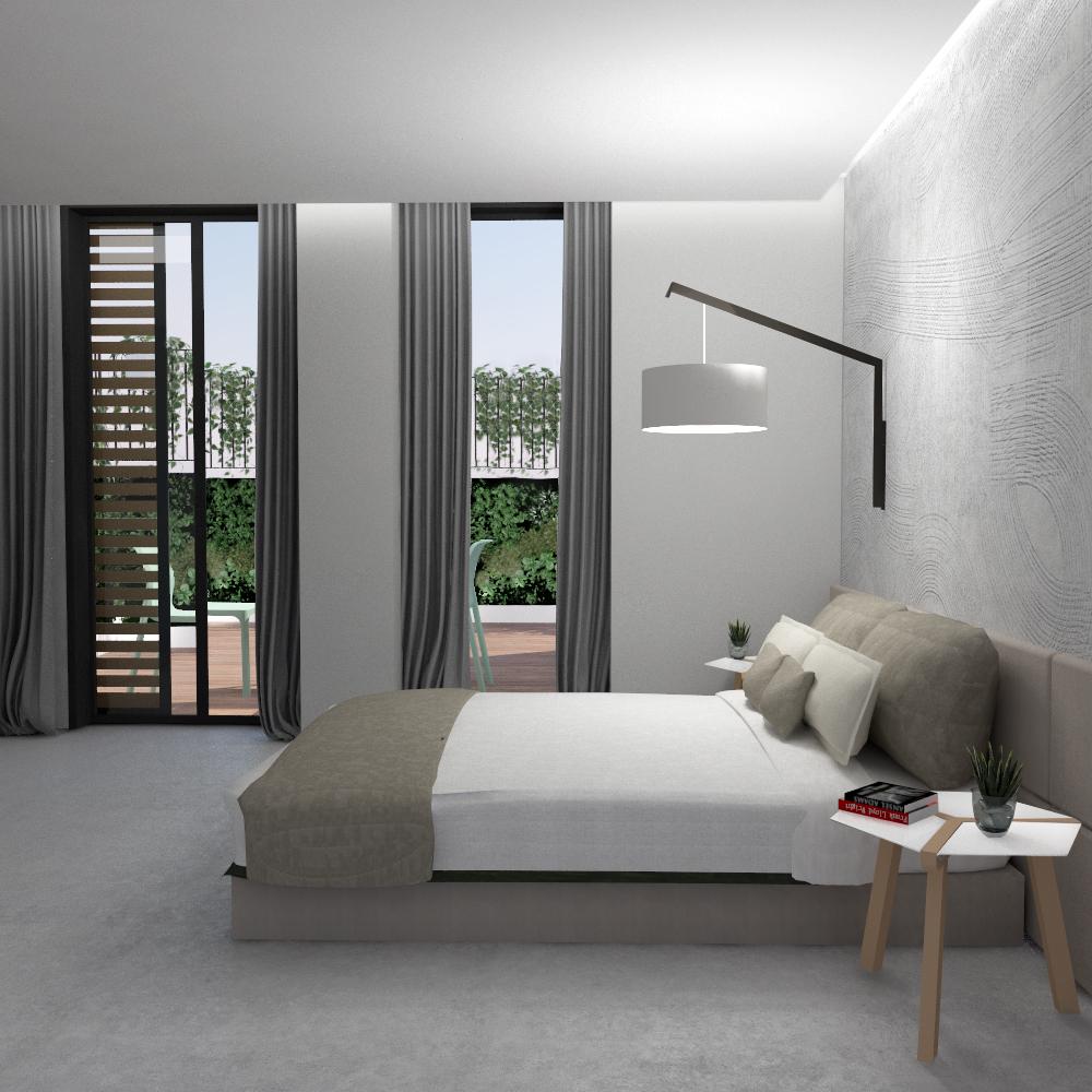 Simulação do quarto do apartamento do R/C