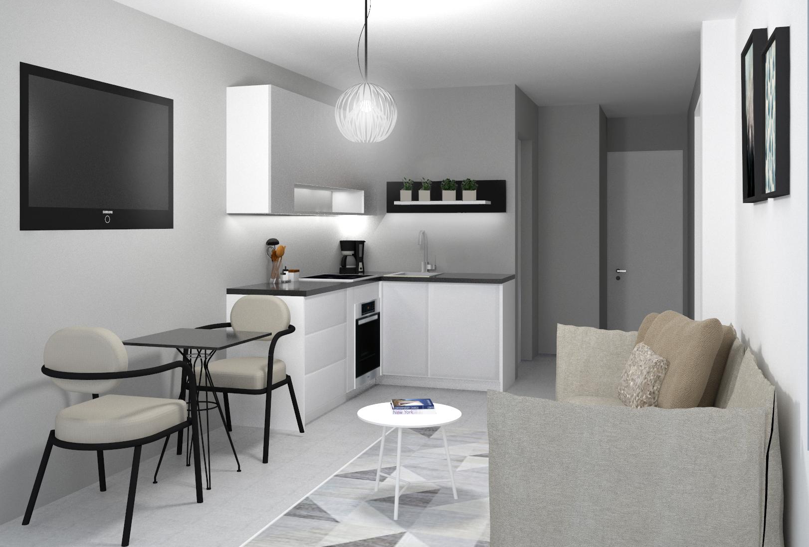 Simulação 3D da sala e cozinha