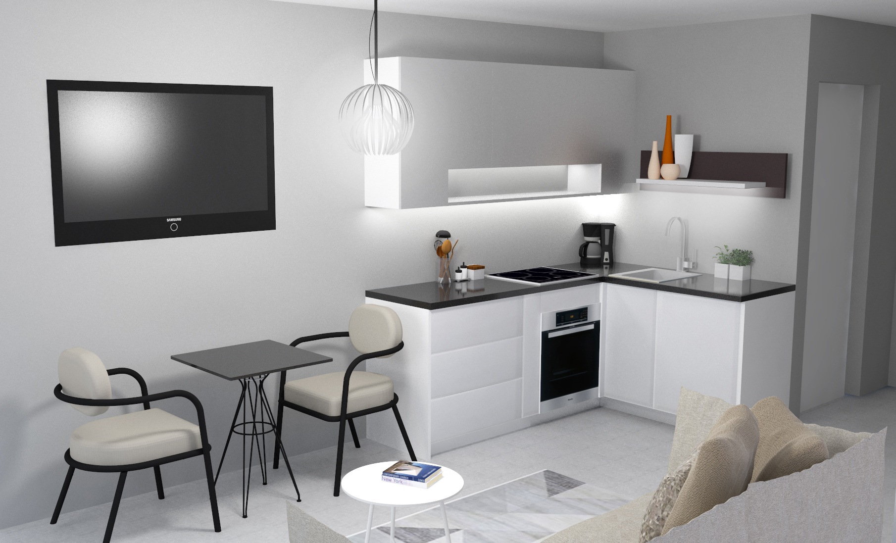 Interior da sala e cozinha