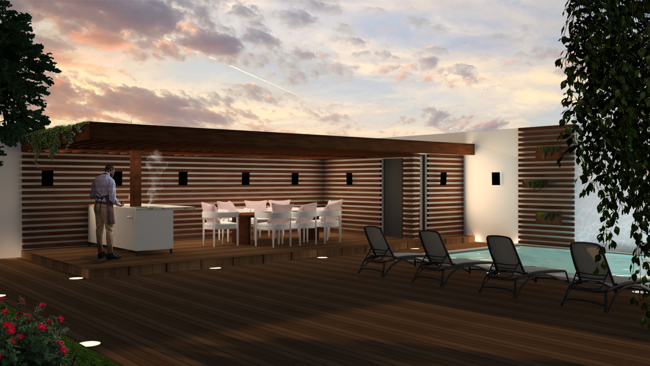 3d visualization of the pergola facing the swimming pool