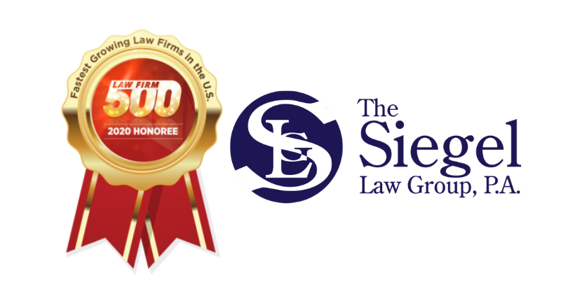 Siegel Law Group Named 2020 Law Firm 500 Honoree for Fastest Growing Law Firms in the U.S.   Florida Estate and Elder LawAttorney Barry D. Siegel at The Siegel Law Group, P.A
