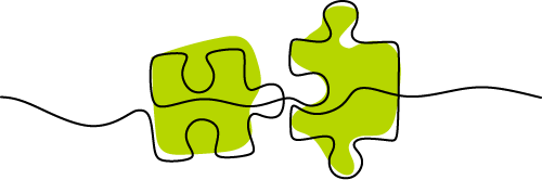 Illustration of two puzzle pieces fitting together