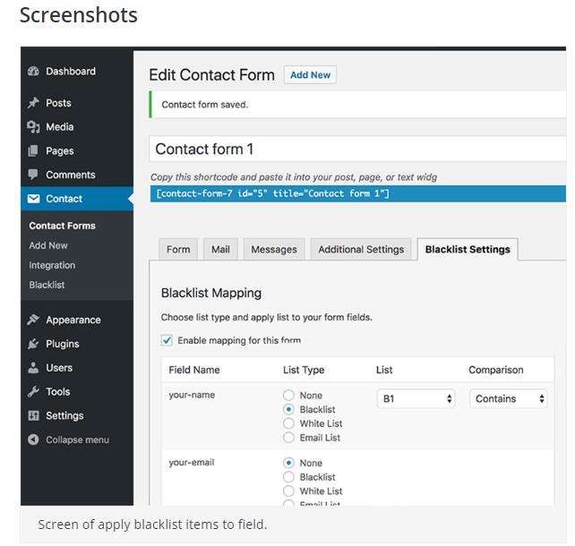 BSK Contact Form 7 Blacklist Screen Shot