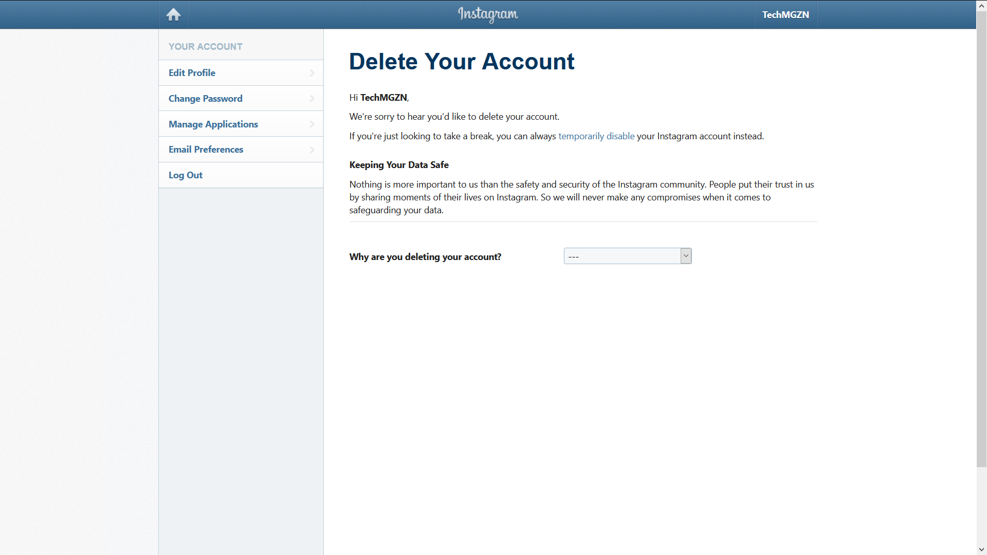 permanently delete your instagram account step 1