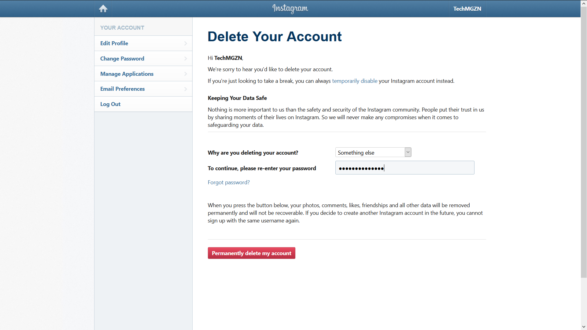 permanently delete your instagram account step 2