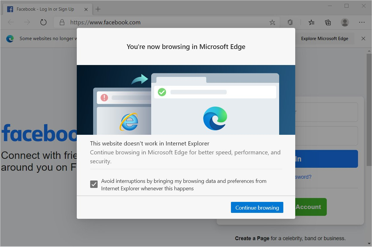 internet explorer is replaced with microsoft edge