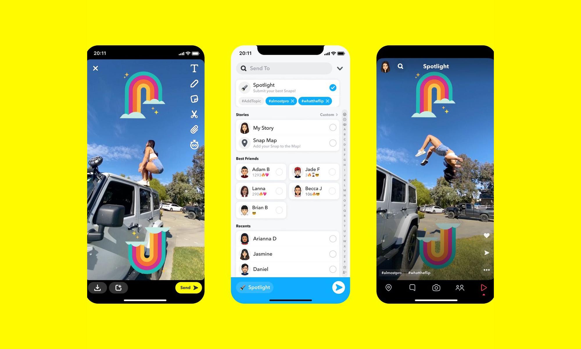 snapchat spotlight feature screenshots