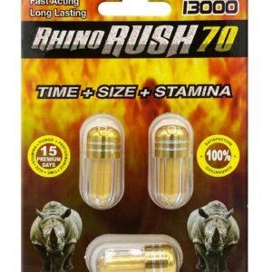 Rhino Rush 70 Trio 13000 Male Sexual Enhancer 3ct Pill Pack