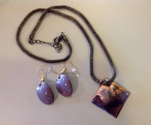 Purple Copper Necklace & Earring Set - Original Torch Fired Jewelry (One of a Kind) :: $60 +shipping