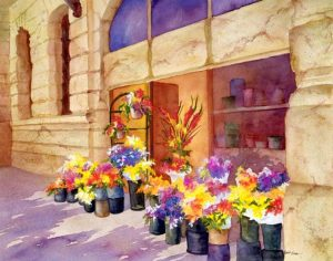"""European Discovery - 31"""" x 26"""" Original Framed Watercolor :: SOLD"""