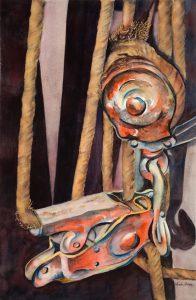 "Pulley - 31"" x 25"" Original Framed Watercolor :: $850"