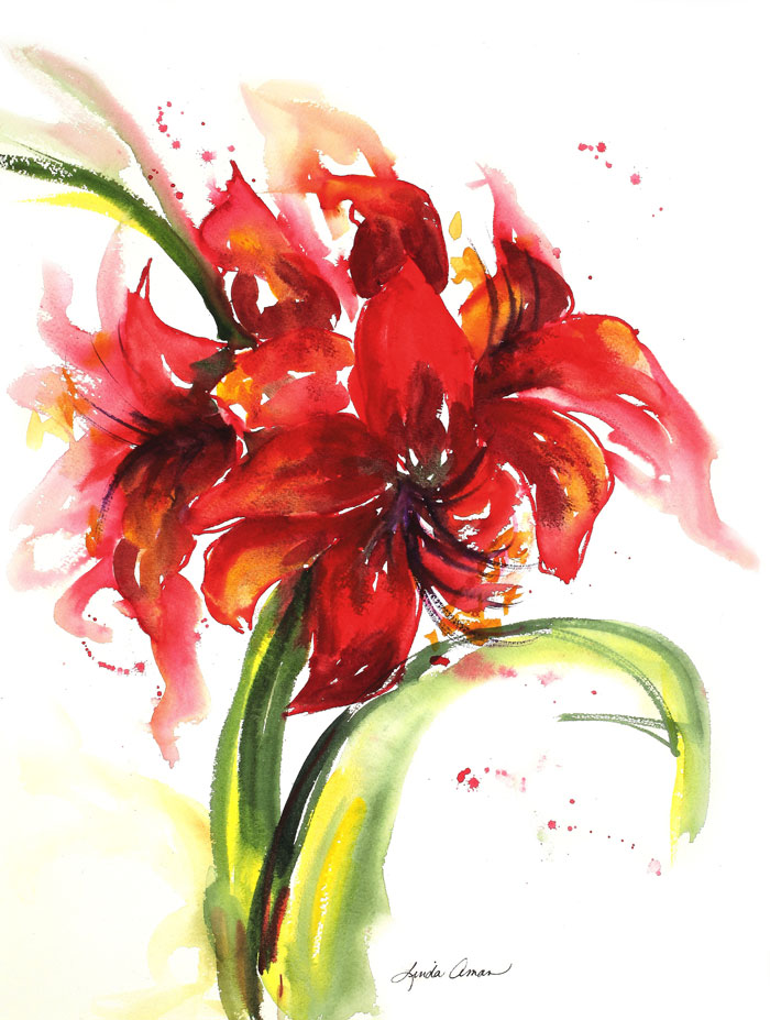 Amaryllis One – 19″ x 23″ Original Watercolor :: NFS