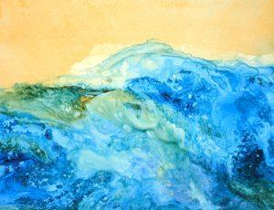 """Aqueous Turbulence – 29"""" x 21"""" Original Framed Acrylic :: $450.00"""