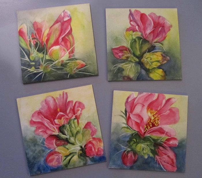 """Cactus on Aquabord - 6"""" x 6"""" Original Watercolor on Aquabord :: $95.00 each"""