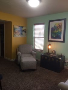 Two Paintings in home setting - See in Gallery under Landforms and Florals
