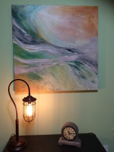 """""""Whispers"""" in home setting - Canvas 36″ x 36″ – $650"""