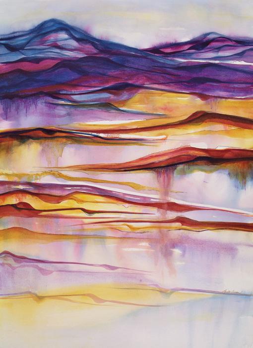 Linear Earth – 34″ x 42″ Original Framed Watercolor :: $1500.00