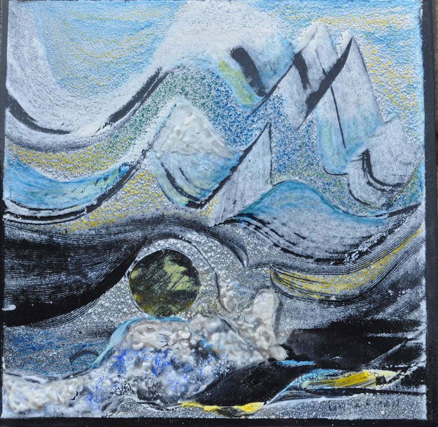 "Moonlight - 6""x 6"" Original Fired Steel Painting :: $200.00"