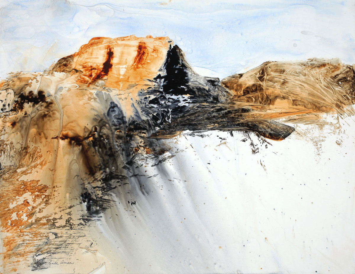 """Owyhee Mountains – 30"""" x 36"""" Original Framed Acrylic on Yupo :: NFS :: (giclee prints available)"""