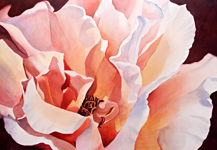 Pink Chiffon – 34″ x 25″ Original Framed Watercolor :: NFS