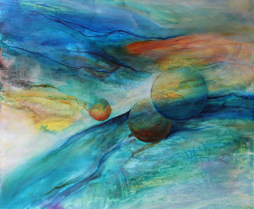 Planets – Original Framed Acrylic :: SOLD