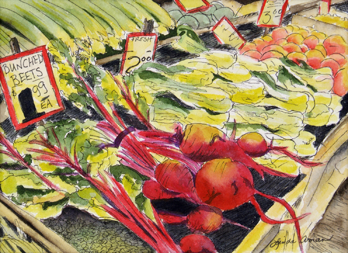 "Saturday Market - 13"" x 16"" Original Framed Watercolor :: $195"