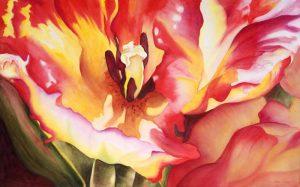 Tulip Surge – 27″ x 36″ Matted Original Watercolor :: $325.00