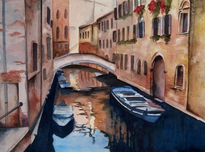 Venice – 9″x12″ Original Framed Watercolor :: SOLD