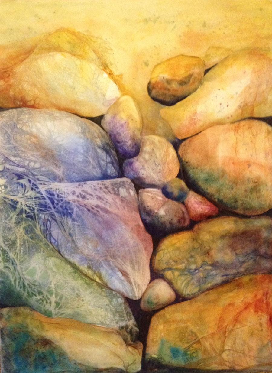 Webbed Rocks - Original Watercolor Framed on Aquabord :: SOLD