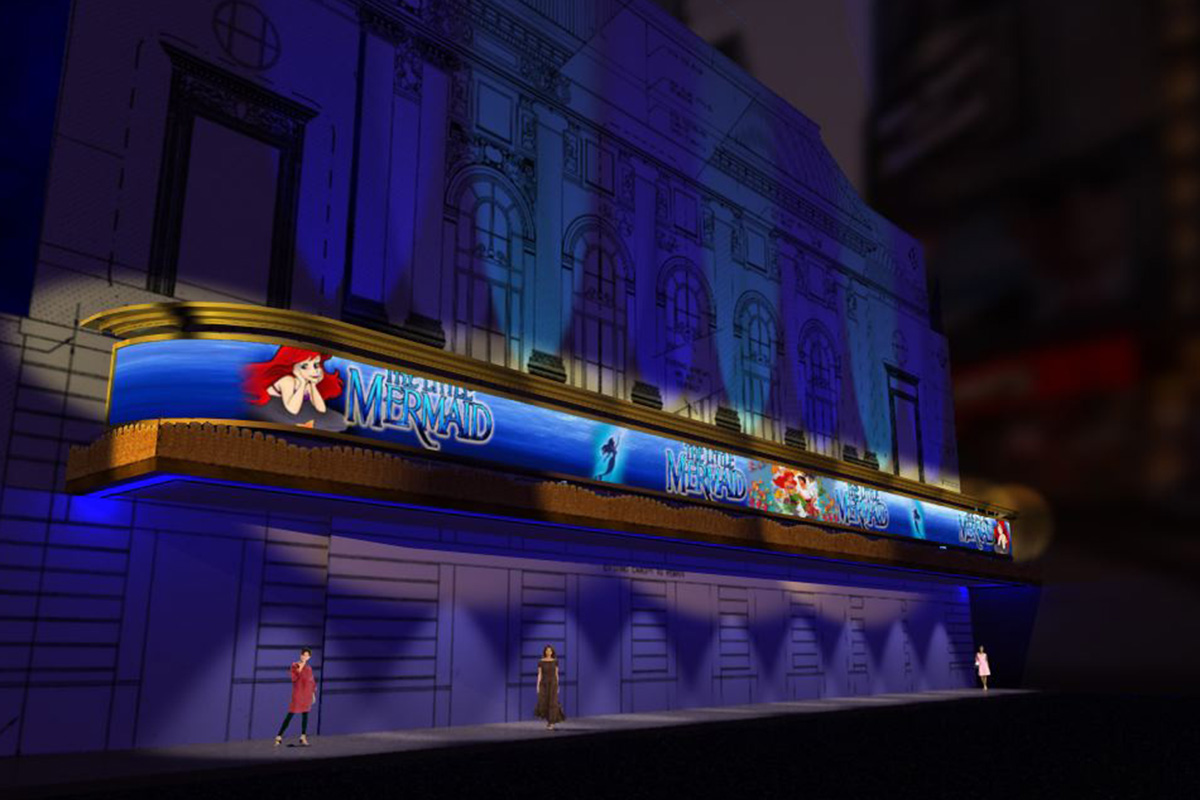 Little Mermaid signage at Lunt-Fontanne Theatre
