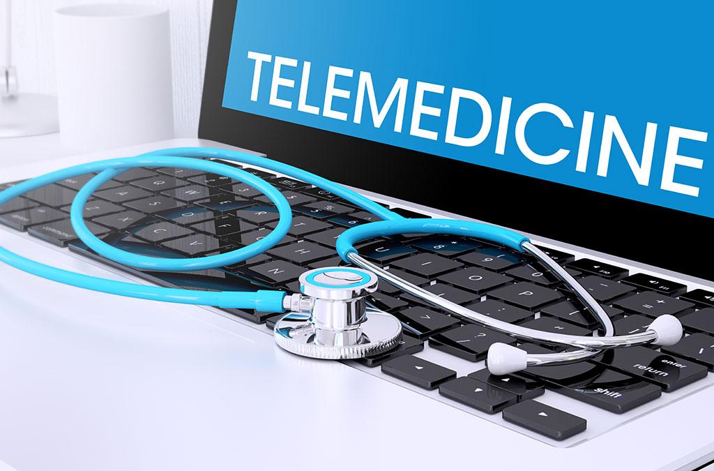 telemedicine laptop and stethoscope