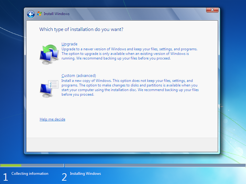 how to install window 7  Step 5