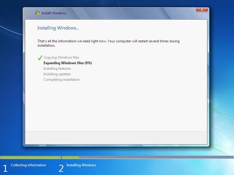 how to install window 7  Step 8