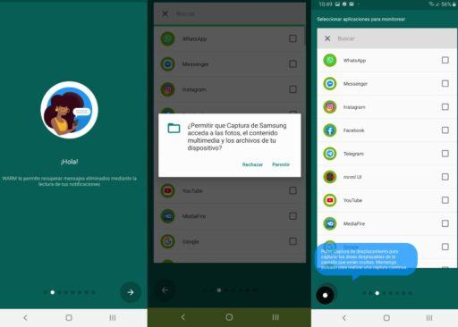 Algunas capturas de WAMR, la mejor app de Whatsapp leer mensajes eliminados en android