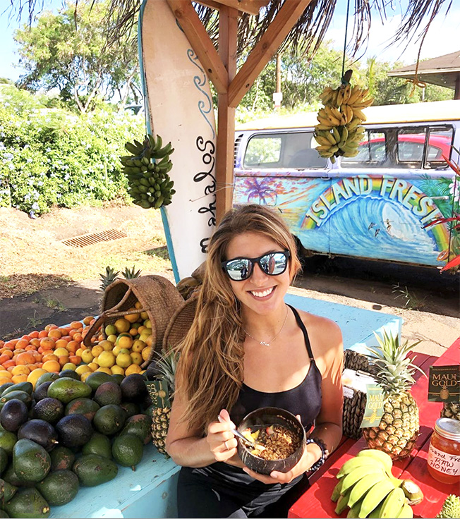 eating bowl at fruit stand