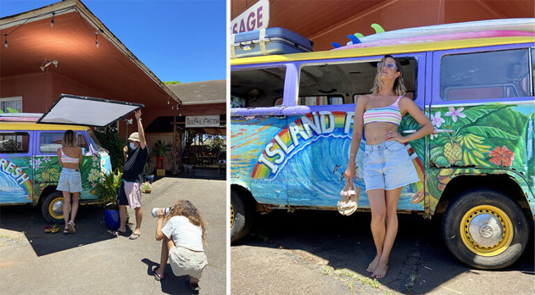 island fresh cafe vw bus photo shoot