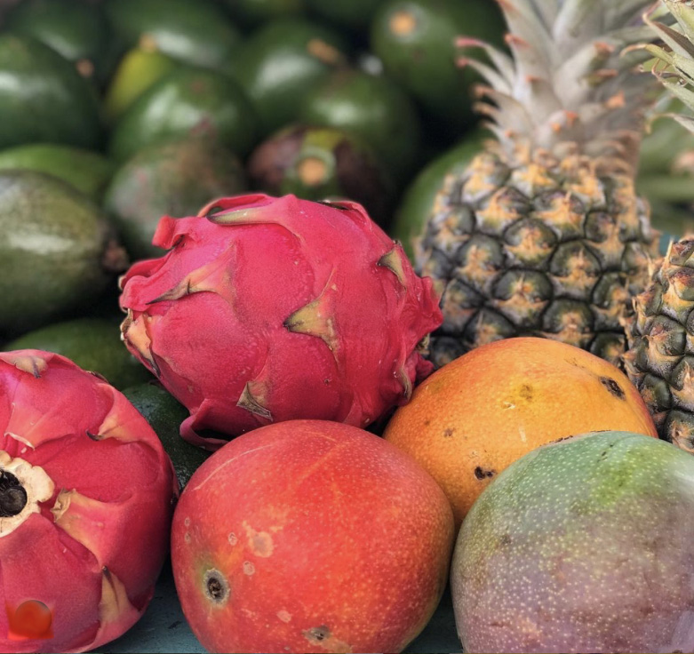 mango dragon fruit pineapple tropical