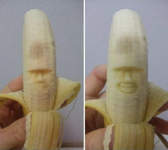 banana carving creative craft project funny faces 2