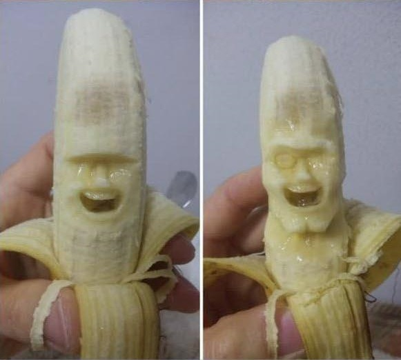 banana carving creative craft project funny faces 3