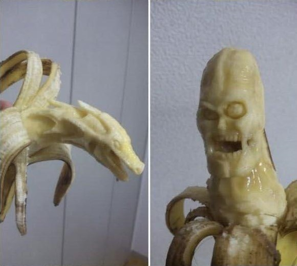 banana carving creative craft project funny faces 5