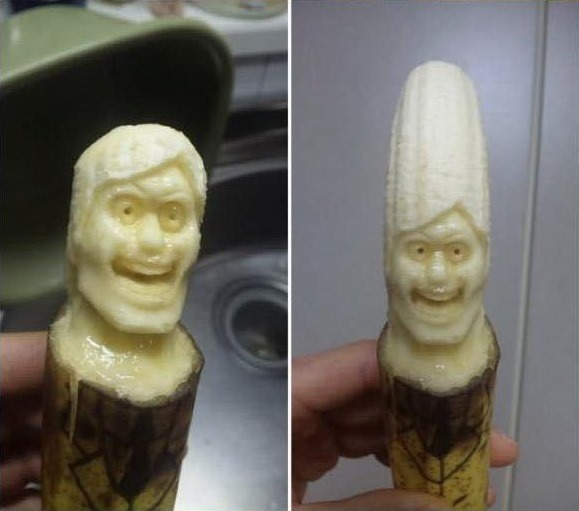 banana carving creative craft project funny faces 6